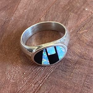 Navajo Opal & Onyx Sterling Silver Inlay Ring 8.25